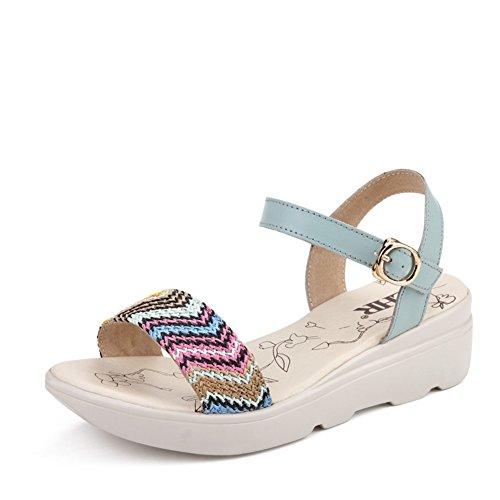 Sandales compensées de femmes étudiant d'été/Éolienne nationale casual chaussures femme/Bohèmes Sandales avec des semelles épaisses A