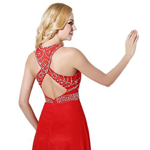 Engerla da donna in Chiffon con paillettes strass con apertura posteriore Abito da sera Red