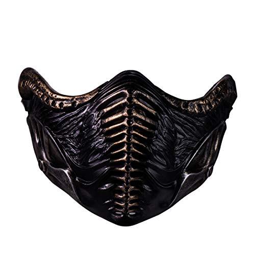 Elf Maske Kostüm - Chiefstore Noob Saibot Maske Spiel MK 11 Cosplay Kostüm Harz Halbes Gesicht Helm für Erwachsene Herren Halloween Kleidung Zubehör