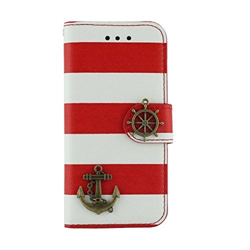 Multi Function Custodia Cover Pelle Borsa per iPhone 5 5S SE, Folio Flip Case, Moda Banda Aspetto Serie, Titolare della Carta Supporto Caratteristica Rosso