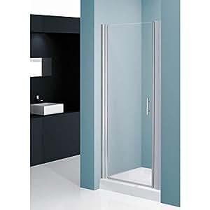 Porte pivotante DOMINO 84 cm - EXT. 84-90 - verre transparent 6mm - profilés argent satiné Réf MISTR1B84-1B