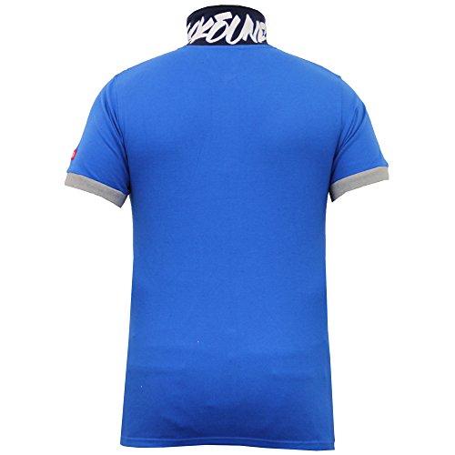 Herren Poloshirt Ecko Piqué Oberteil Kurzärmelig Kragen Aufdruck Stickerei Sommer Blau - MAGNUM