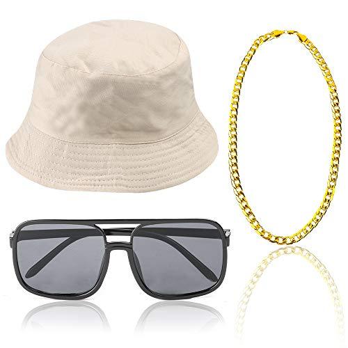 Beelittle 3pcs 80er / 90er Jahre Hip Hop Kostüm Kit Old Style Coole Rapper Outfits - Bucket Hat übergroße Schwarze Sonnenbrille Gold Plated Chain (G)