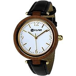 Holz Armbanduhr Venezia Nut mit Lederarmband