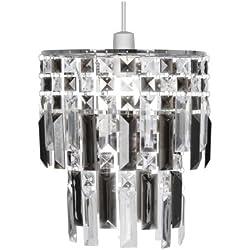 Oaks Lighting Maia - Lámpara de techo (estructura de cromo con láminas de acrílico), color gris y transparente