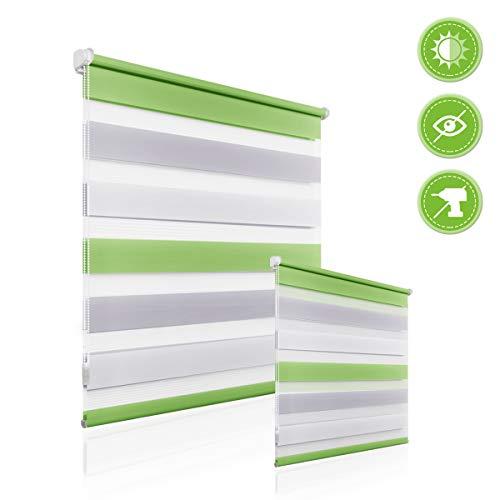 Homedemo tenda a rullo doppio senza viti klemmfix giorno notte easy fix per finestra o porta 40 x 150cm (bxh) bianco-grigio-verde