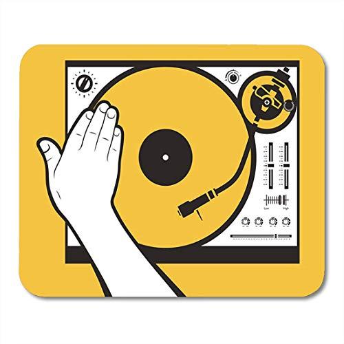 Luancrop Mauspads Schallplattenspieler Hand Scratching Vinyl Needle Scratch Rave Remix Mauspad für Notebooks, Desktop-Computer Matten Bürobedarf