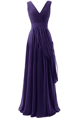 Sunvary A-line in Chiffon, lunga, scollo A V, quando viene piegato Evening Dresses Homecoming Gowns Regency