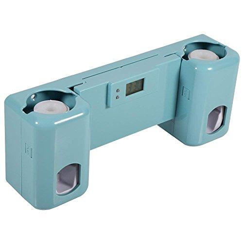 Distributeur Automatique De Dentifrice Et Support À 5 Brosses À Dents Mural Avec Pendule Horloge Kit Accessoires Pour Salle De Bain ( Couleur : Bleu )