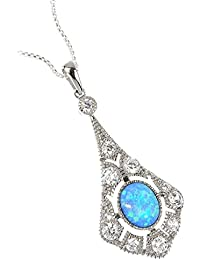 Blue Opal Antique-Style Silver Pendant. Superb Colour