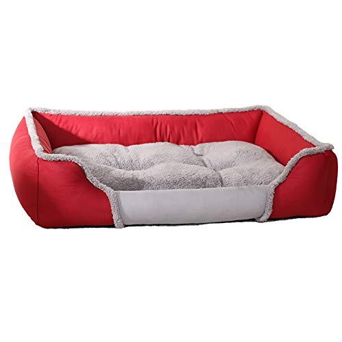 streu des Haustiernetzes,Haustier Hund Katze Bett Welpen Kissen Haus weiche warme Hundehütte Hund Mat Blanket(Rot,66X54X16cm) ()