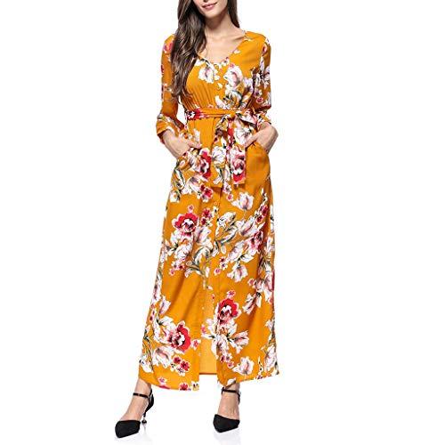 Zylione Damen Freizeitkleid Strandkleider Langarm Blumendruck Kleider