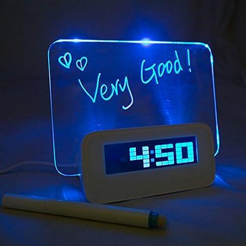 ISABELLE Réveil Digital Tableau LED Bleu Message Lumineux Fluorescent Horloge numérique + 4 USB + Message Pen Deco +Calendrier+Température Cadeau créatif