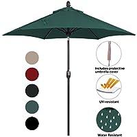 SORARA Parasol Sombrilla Jardin/Terraza/Patio | Verde | Ø 270 cm | Redondo Inti (Bronce Mástil) | Poliéster de 180 g/m² (UV 50+) | Mecanismo De Péndulo Y Manivela | Incl. Funda (excl. Base)