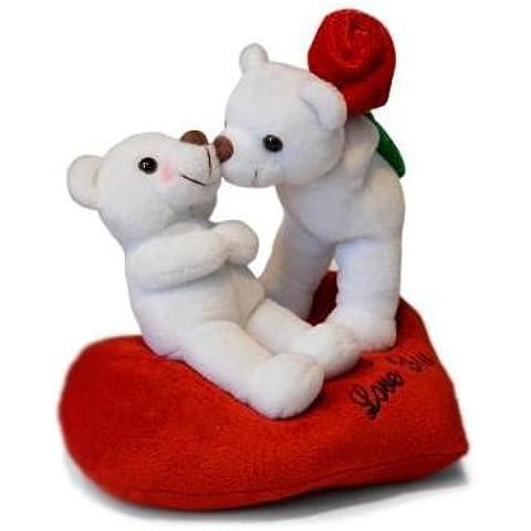 Ositos Blancos I love You sentados sobre corazón Rojo Peluche - 21cm Calidad Super soft