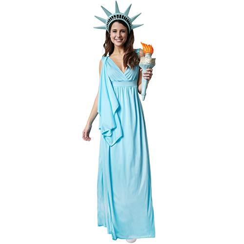 dressforfun 900548 - Damenkostüm Göttin der Freiheit, Ärmelloses Gewand im antiken Stil mit angenähter Schärpe (S | Nr. - Freiheitsstatue Kostüm