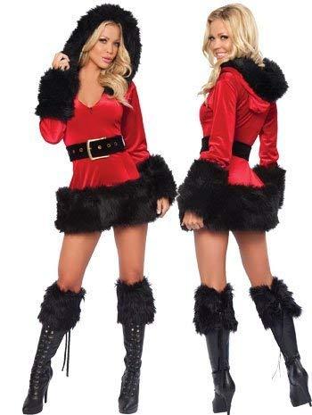 Fancy Me Damen Sexy Mrs Miss mit Kapuze Weihnachten Weihnachtsmann Kostüm Kleid Outfit UK 8-10 - Schwarz, EU 36/38, uk 8-10 -