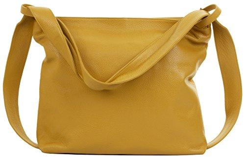 Primo Sacchi® Ladies Italian gelb texturiertes Leder Griff Tasche Umhängetasche Rucksack Rucksac. Incudes Branded Protective Storage Bag