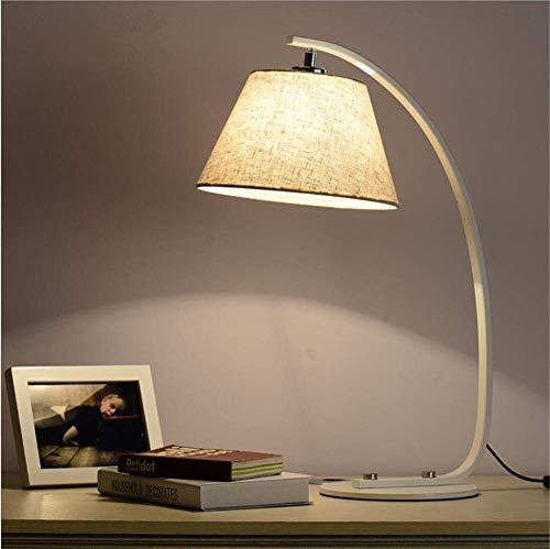 Schreibtischlampe modernes Hotel-Art Auge-Obacht-Fischen-Bogen-Bett-Leselicht-Gewebe-Schatten Weiß gemalte Schmiedeeisen-Tischlampe mit Knopf-Schalter E27 Sockel für Studien-Büro-Wohnzimmer -