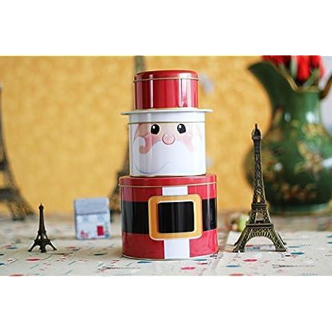 XJoel Jumbo Natale cucina in acciaio inox ermetico scatola metallica rotonda Classic Jar Babbo Natale