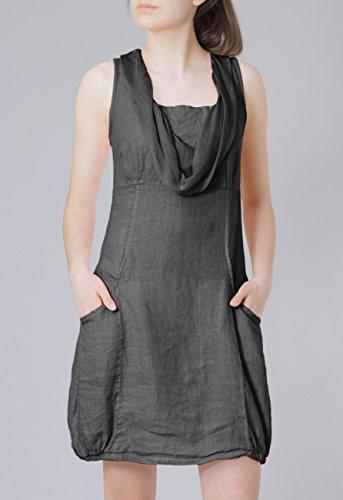 CASPAR Damen elegantes leichtes Sommerkleid aus Leinen mit Seidenkragen - viele Farben - SKL002 Dunkelgrau
