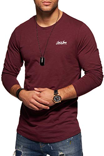 JACK & JONES Herren Langarmshirt Oversize Longshirt O-Neck (X-Large, Port Royale)