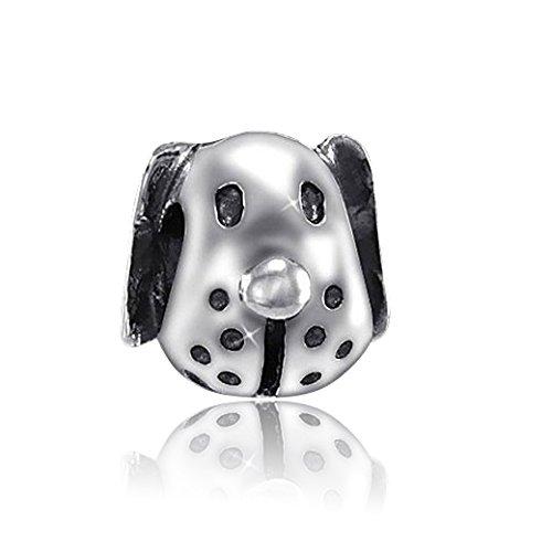 Materia{925} plata perro Beads Charms Element - antiguo con cuentas de plata colgante de los animales para Beads Pulsera #901