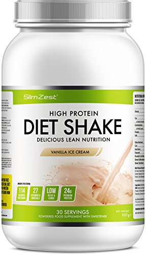 41c7qwSiM9L - BEST BUY #1 Delicious Vanilla Diet Whey Protein Powder Shake - Super Convenient Fat Burning Shake With Added Metabolism Booster - Smooth Milkshake Taste with Amazing Nutritional Values - UK Manufactured Premium Diet Protein - Burn & Tone with SlimZest's Diet Shakes Reviews and price compare uk