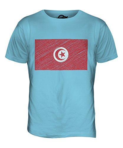CandyMix Tunesien Kritzelte Flagge Herren T Shirt Himmelblau