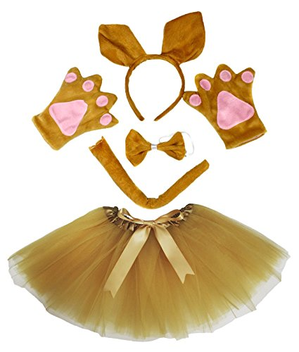 Kangaroo Headband Bowtie Tail Gloves Gold Tutu 5pc Girl Costume Dress for Party ()