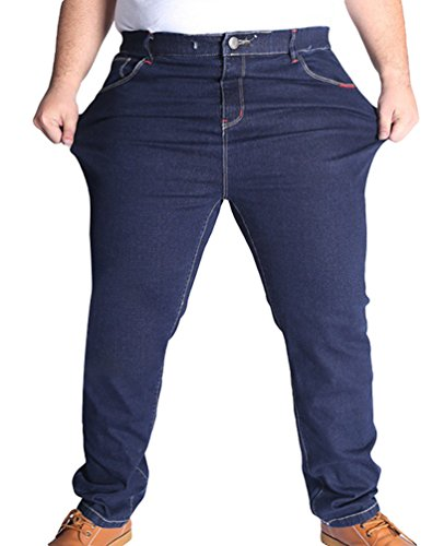 Heheja Herren Elastizität Jeanshosen Freizeit Jeans Hose Übergröße Denim Hose Dunkel Blau 6XL (Jeans Hose Dunkle)