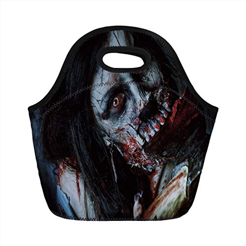 Jieaiuoo Portable Lunch Bag,Zombie Decor,Scary Dead Woman with Bloody Axe Evil Fantasy Gothic Mystery Halloween Picture,Multicolor,for Kids Adult Thermal Insulated Tote Bags