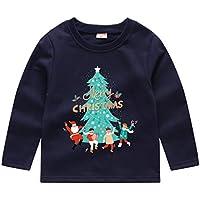 uBabamama Autumn Sale!!! Christmas Sweatshirt Pullover Tops for 1-8 Years Toddler Kids Santa Claus Snowmen Cartoon Long Sleeve Basic Tee Outwear (Navy#002,90)