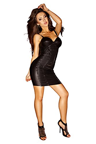 Mini Kleid aus elastischen Gummibändern von Noir Handmade Schwarz