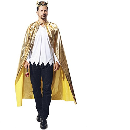 Matissa Cape und Krone Set Kostüm für Erwachsene und Kinder König Königin Prinz Prinzessin Umhang und Krone Cosplay Unisex Kostümfest (König, Gold) (Prinz-kostüm Erwachsene Für)