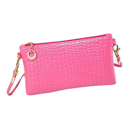 Rosa Leder Kupplung (Amlaiworld Frauen Krokodil PU Leder Messenger Crossbody Kupplung Schulter Handtasche (rosa))
