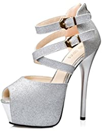 SHOWHOW Damen Sexy Peep Toe Paillette Plateau Stiletto Knöchelriemchen Sandale Silber 39 EU