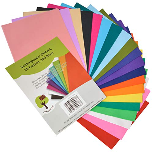 OfficeTree Tissue Paper - 300 sheets A4 in 20 Colours - More fun Crafting and Decorating - 16 gsm premium quality