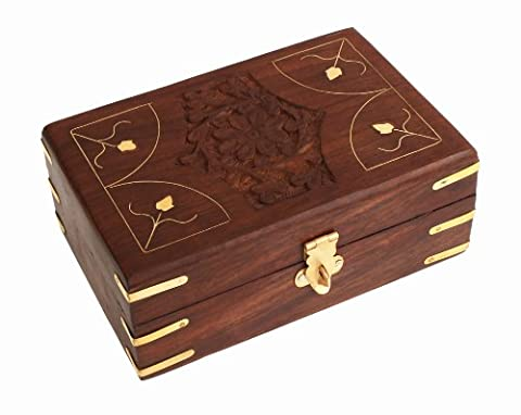 Graceful Hand Carved Wooden Decorative Trinket Jewellery Box (15 X