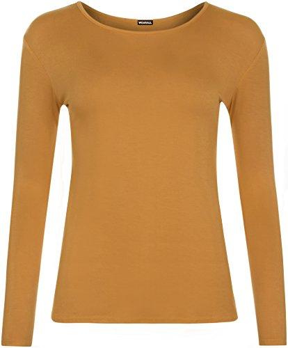WearAll - Haut à manches longues - Hauts - Femmes - Tailles 36 à 42 Moutarde