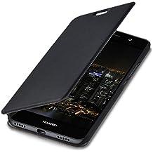 kwmobile Funda con tapa para > Huawei Y6 < en negro con recubrimiento de cuero sintético