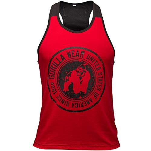 Gorilla Wear Roswell Tank Top - rot / schwarz - Bodybuilding und Fitness Kleidung für Herren, 5XL