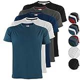 Photo de ALPIDEX T-Shirts Hommes Noir Unis à Col Rond Lot de 5, Taille S M L XL XXL 3XL 4XL par ALPIDEX