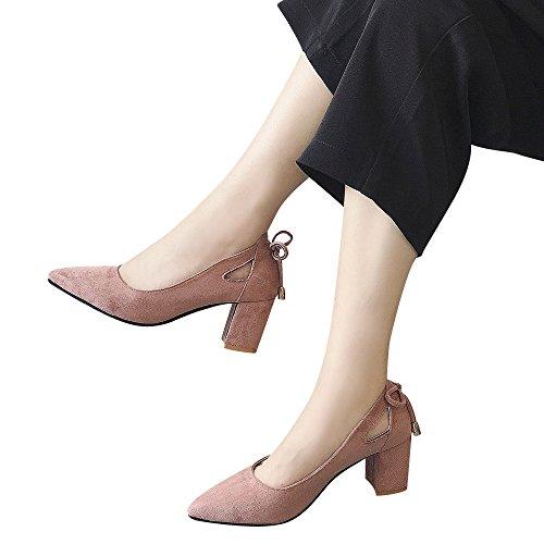 TianWlio Ballerinas Damen Mode Sandale Spitze Zehe Ankle High Heels Party Jobs Flock einzelne Schuhe Pink 38