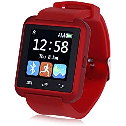 Leopard Shop U8S Outdoor Sports Smart Watch Bluetooth 3.0 Remote Camera Red