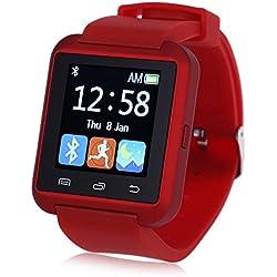 Leopard Shop U8S Outdoor Sports Smart Watch Bluetooth 3.0 Remote Camera Red