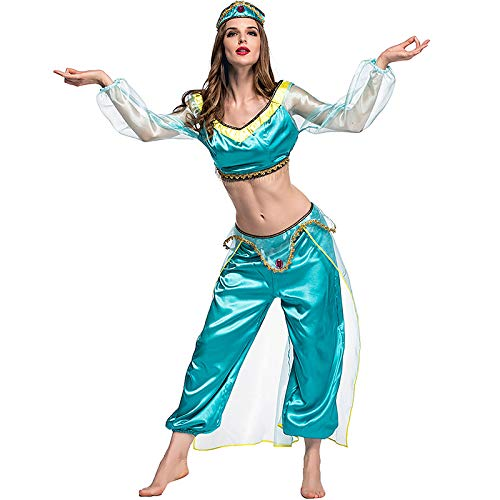 Spaß Weiblichen Kostüm - PIAOL Magic Lamp Arab Cosplay Kostüm Weibliche Spaß Leistung Kleidung Film Spiel Anime Rollenspiel Ausstellung Kleidung,Blue-S
