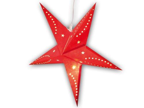 Lunartec Papierstern Lampe: 3D-Weihnachtsstern-Lampe, Stern aus Papier, 60 cm, rot (Leuchtstern) (Weihnachtsstern Pearl)