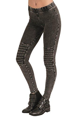 trueprodigy Casual Damen Marken Leggings mit Stretch Leggins Cool Stylisch sexy sportlich Skinny Elegante Stretch Hose für Frauen, Größe:XS, Farben:Anthrazite