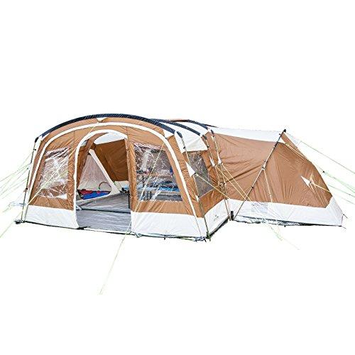skandika Nimbus 12 Personen Familien-Zelt braun, wasserdicht durch starke 5.000 mm Wassersäule. Großes, geräumiges und robustes Steilwand-Zelt, Tunnel-Zelt mit Insekten-Netzen und über 2 m Stehhöhe